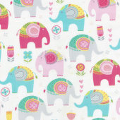 Animals - Elephants Cream Yardage