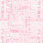 Cottage Joy - Flower Word Pink Yardage