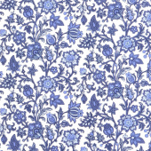 Blue Byrd - Rambling Floral Porcelain Yardage