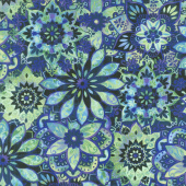 Feather & Flora - Medallion Midnight Yardage