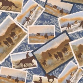 Ranch Hands - Post Cards Blue Yardage