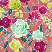 Zola - Large Floral Coral Yardage
