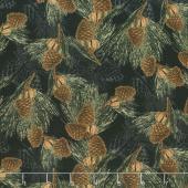 Festive Forest - Pine Cones Black Yardage