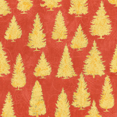 Winter's Grandeur 8 - Holiday Pine Trees Red Metallic Yardage