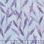 Shimmer Dragonfly Moon - Royal Garden Leaves Turquoise Purple Yardage
