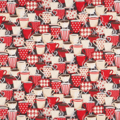 Coffee Time - Packed Cups Black Yardage