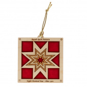 Quilt Ornament - Red Eight Point Star