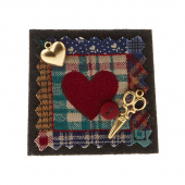 Sew Happy Heart Block Quilter's Pin