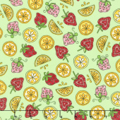 Lil' Sprout Too! - Strawberries n' Lemons Green Flannel Yardage