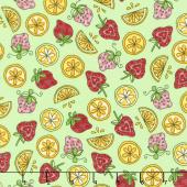 Lil' Sprout Too! - Strawberries n' Lemons Green Flannel Yardage