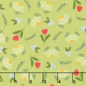 Clover Hollow - Flower Daze Leaf Green Yardage