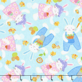Carrot Patch - Tossed Bunnies Blue Yardage