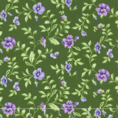 Emma's Garden - Trailing Pansy Green Yardage