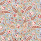 Zellie Ann - Floral Paisley Teal Yardage