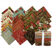Poinsettias and Pine Metallic Fat Quarter Bundle