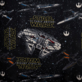 Fleece Licensed - Star Wars VII Heroes Ships Black Yardage