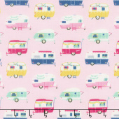 I'd Rather Be Glamping - Campers Pink Yardage