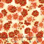 Imperial Collection 13 - Black Cherry Blossoms Crimson Metallic Yardage