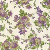 Aubergine - Floral Bouquets Ivory Yardage