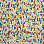 Dandy Dinos - Triangles White Multi Yardage