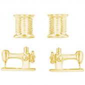 Thread and Sewing Machine Earrings Set - Gold