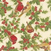 Cardinal Song Metallic - Cardinals Cream Yardage