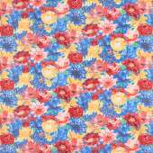 Garden Charm - Packed Floral Blue Yardage