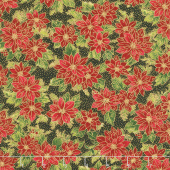 Poinsettias and Pine Metallic - Poinsettias Ebony Yardage