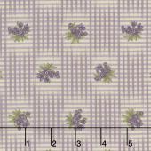 Sweet Violet - Gingham & Floral Ivory Lilac Yardage