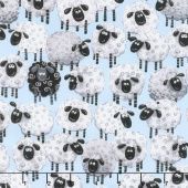 Lewe the Ewe - Sheep Allover Blue Yardage