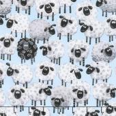 Lewe the Ewe - Sheep Allover Blue Yardage