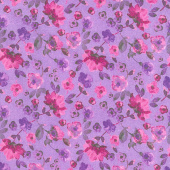 Night Riviera - Dancing Floral Purple Yardage