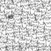 "108"" Quilt Back - Packed Cats White 108"" Wide Backing"