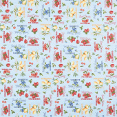 The Berry Best - Words Allover Light Blue Yardage