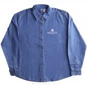 MSQC White Logo 2X-Large Women's Long Sleeve Denim Shirt - Faded Blue