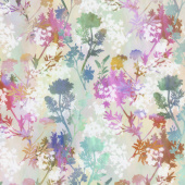 Garden of Dreams - Sprigs Teal Pink Meadow Digitally Printed Yardage