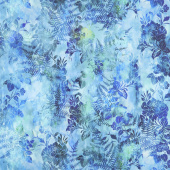 Garden of Dreams - Blooms Lush Blue Digitally Printed Yardage