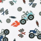 "Cuddle Prints - Truck Rally Scarlet 60"" Minky Yardage"
