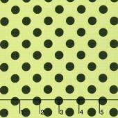 Broomhilda's Bakery - Dots Black on Lime Yardage