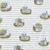 Country - Amazing Grace Church Scripture White Yardage
