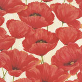 Scarlet Dance - Packed Poppies Tan Yardage