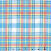 Primo Plaid - Blue/Orange Large Plaid Flannel Yardage