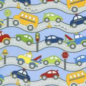 Traffic Jam - Roads Blue Yardage