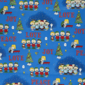 Peace Love Joy - Charlie Brown Caroler Vignette Denim Yardage