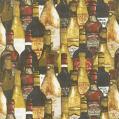 Wine Night - Packed Bottles Black Multi Yardage