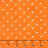 A Haunting We Will Glow - Tossed Stars Orange Glow in the Dark Yardage