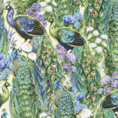 Plumage - Peacocks and Flowers Ivory Yardage