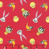 Looney Tunes - Tossed Faces Ruby Yardage