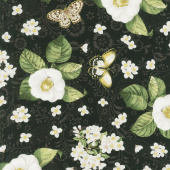 Chantrell - Magnolias and Butterflies Black Yardage