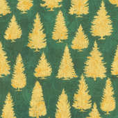 Winter's Grandeur 8 - Holiday Pine Trees Green Metallic Yardage